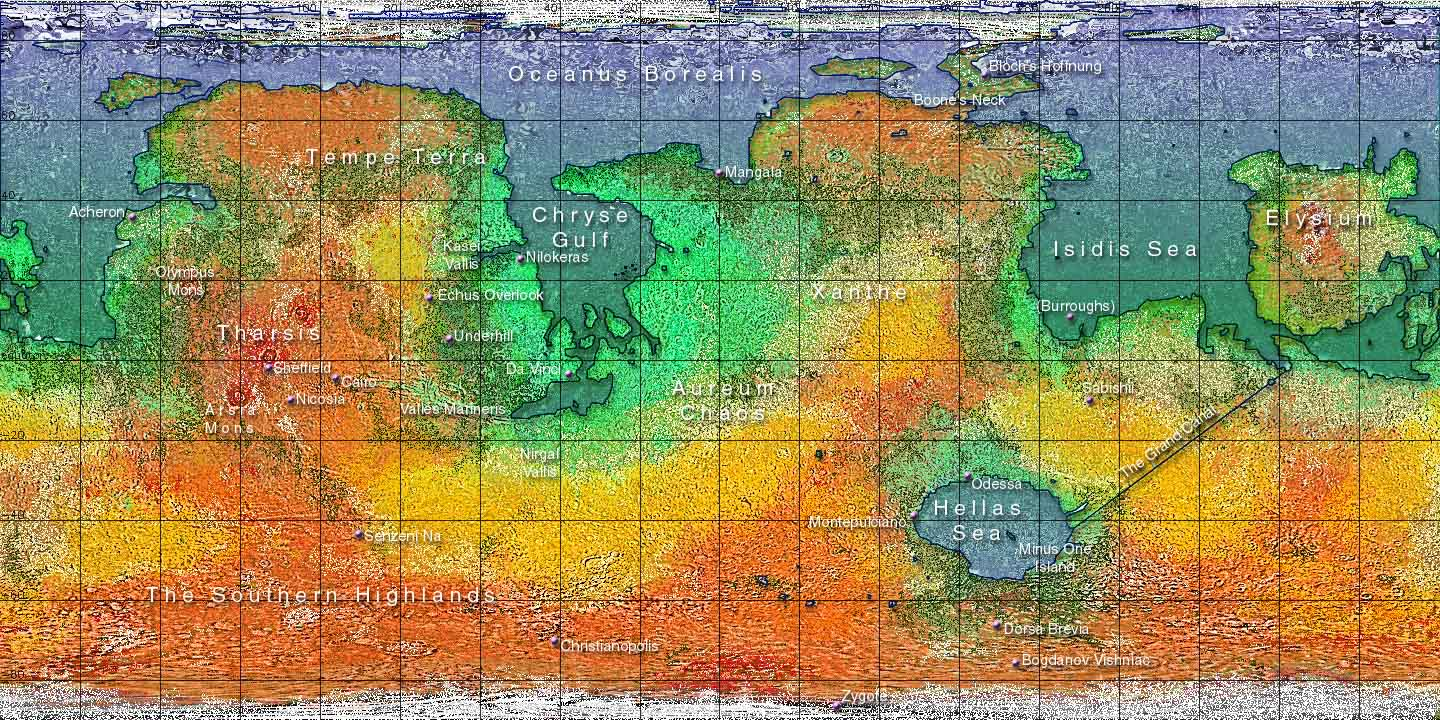 a landscape map of Mars, M100 (2219AD)